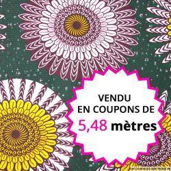 Wax africain indien fond vert, vendu en coupon de 5,48 mètres