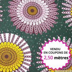 Wax africain indien fond vert, vendu en coupon de 2,50 mètres
