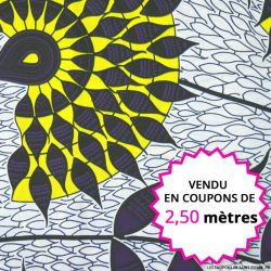 Wax africain tournesol jaune et violet, vendu en coupon de 2,50 mètres