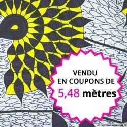 Wax africain tournesol jaune et violet, vendu en coupon de 5,48 mètres