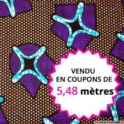 Wax africain navette violette, vendu en coupon de 5,48 mètres