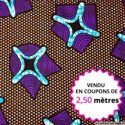 Wax africain navette violette, vendu en coupon de 2,50 mètres