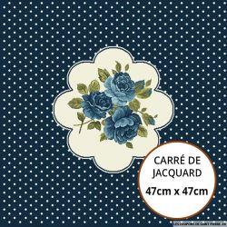 Jacquard fleurs bleues - 47cm x 47cm