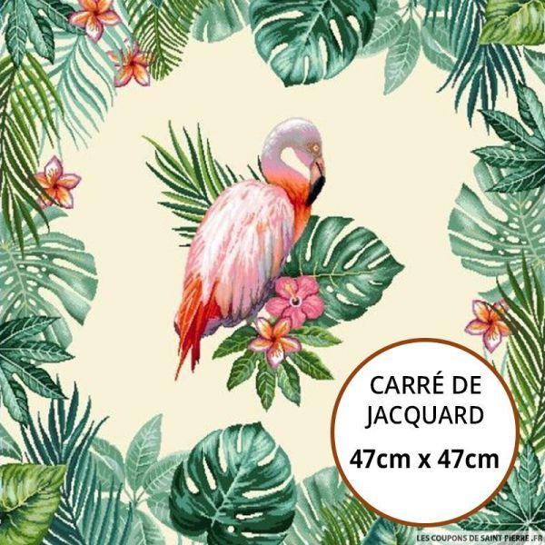 Jacquard flamant tropicale - 47cm x 47cm