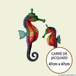 Jacquard hippocampe - 47cm x 47cm