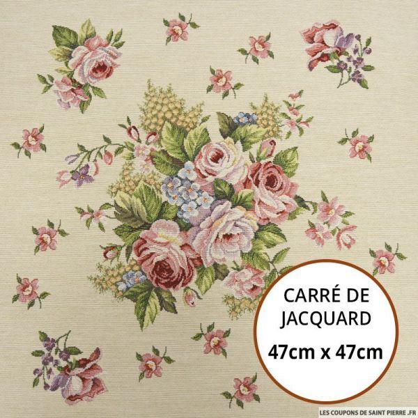Jacquard bouquet de roses - 47cm x 47cm