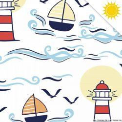 Jersey de coton couleur magique marin vendu au mètre