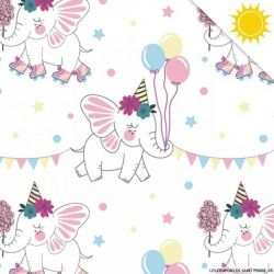 Jersey de coton couleur magique éléphant vendu au mètre