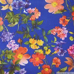 Maille Milano imprimé fleurs printemps fond bleu roi