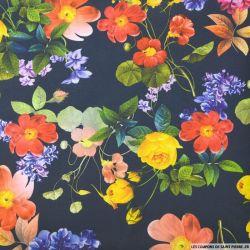 Maille Milano imprimé fleurs printemps fond marine
