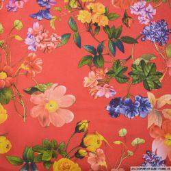 Maille Milano imprimé fleurs printemps fond rouge