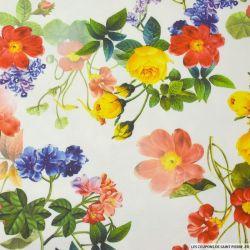 Maille Milano imprimé fleurs printemps fond blanc