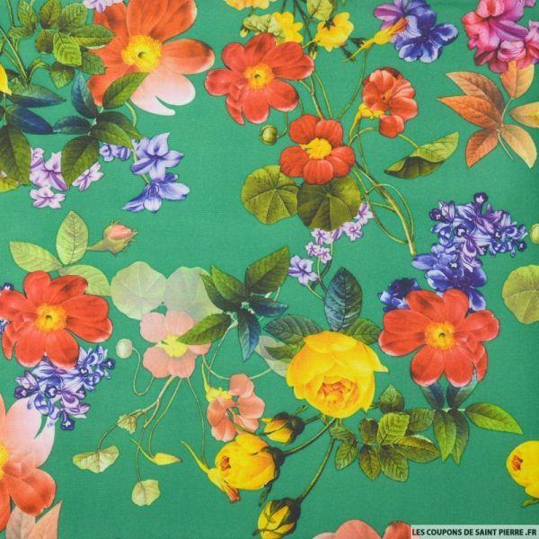 Maille Milano imprimé fleurs printemps fond vert