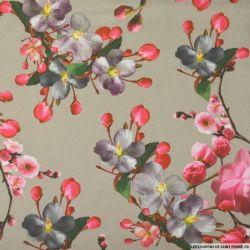 Maille Milano imprimé fleurs japonaise fond beige