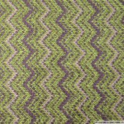 Maille tricot laine mélangée zigzag vert
