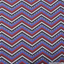 Maille jacquard polyester élasthane zigzag rouge et bleu