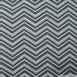 Maille jacquard polyester élasthane zigzag gris
