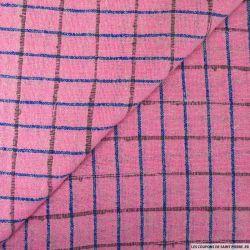 Bourrette de soie à carreaux rose