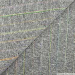 Bourrette de soie rayé multicolore fond gris