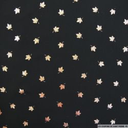 Mousseline polyester feuille doré fond noir