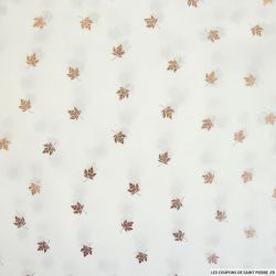 Mousseline polyester feuille doré fond blanc
