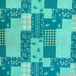 Coton imprimé patchwork cerf fond opaline