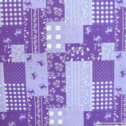 Coton imprimé patchwork cerf fond violet