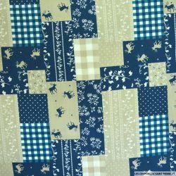 Coton imprimé patchwork cerf fond marine et beige
