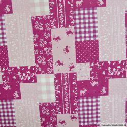 Coton imprimé patchwork cerf fond rose