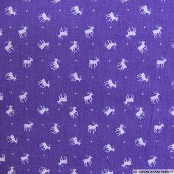 Coton imprimé cerf fond violet foncé