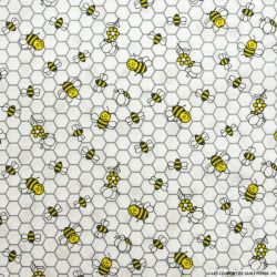 Coton imprimé ruches fond blanc