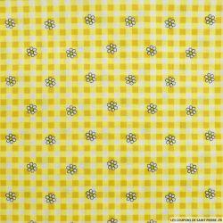 Coton imprimé vichy et marguerite jaune