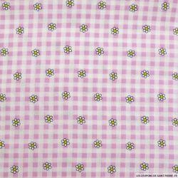 Coton imprimé vichy et marguerite rose