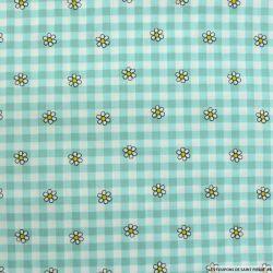 Coton imprimé vichy et marguerite turquoise