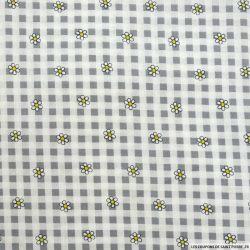 Coton imprimé vichy et marguerite gris
