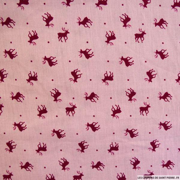 Coton imprimé cerf violet clair