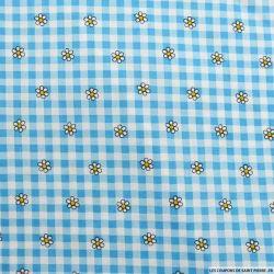 Coton imprimé vichy et marguerite bleu
