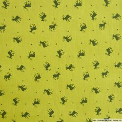 Coton imprimé cerf vert clair
