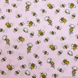 Coton imprimé abeilles fond rose