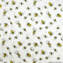 Coton imprimé abeilles fond blanc