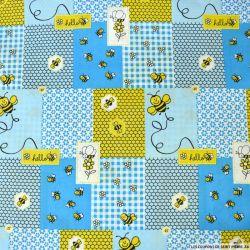 Coton imprimé patchwork abeille fond bleu