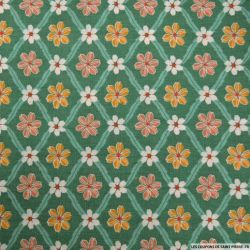 Coton imprimé carreaux de fleurs vert