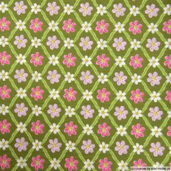 Coton imprimé carreaux de fleurs kaki