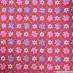 Coton imprimé carreaux de fleurs fushia