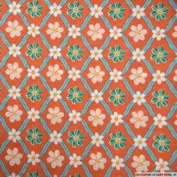 Coton imprimé carreaux de fleurs rouille