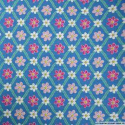 Coton imprimé carreaux de fleurs bleu