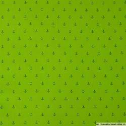 Coton imprimé ancre vert anis