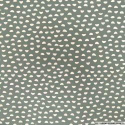 Coton imprimé demi cercle vert de gris