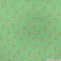 Coton imprimé fleurs sauvages fond vert
