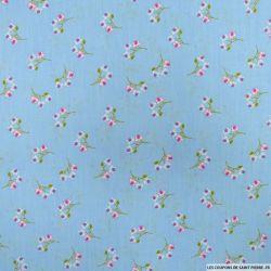 Coton imprimé fleurs sauvages fond ciel